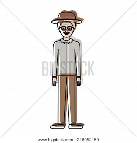 man with hat and glasses and shirt and pants and shoes with short hair and moustache in watercolor silhouette vector illustration