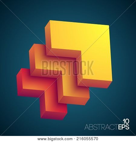 Abstract design concept with gradient rectagular flagstone with three layers colored from yellow to orange vector illustration