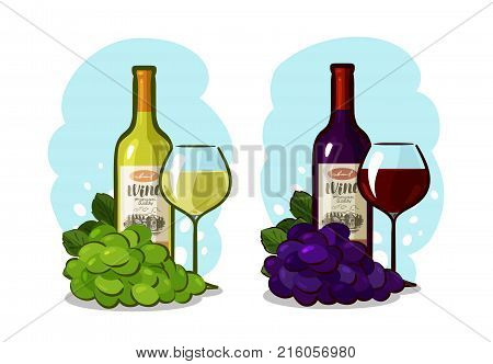 Bottle of red or white wine, glass and grapes. Winery concept. Cartoon vector illustration isolated on white background