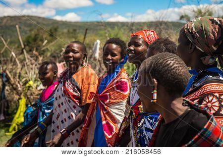 Residents Of Masai Village, Kenia