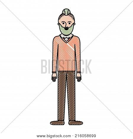 man full body with beard and sweater and pants and shoes with taper fade haircut in colored crayon silhouette vector illustration