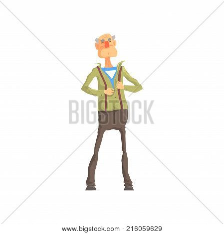 Elderly superhero revealing his true identity by tearing his shirt. Inspiring and heroic role model. Cartoon brave old grandfather character in flat style. Vector illustration isolated on white.