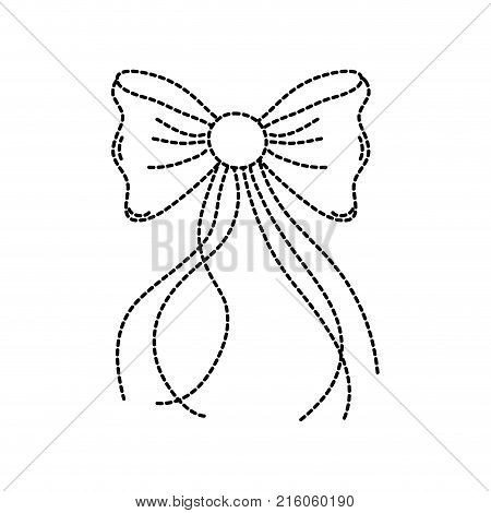 dotted shape ribbon bow with slats decoration design vector illustration