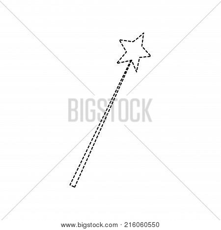 dotted shape magic wand stick to wizard object vector illustration