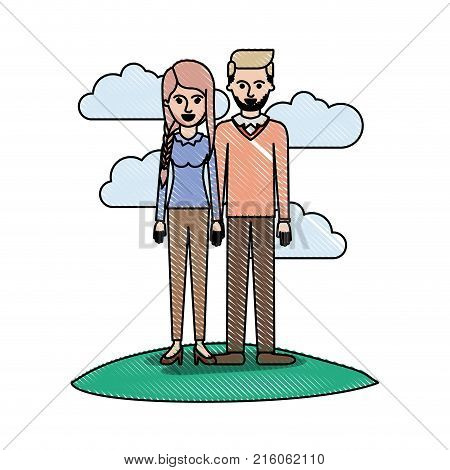 couple in colored crayon silhouette scene outdoor and her with blouse long sleeve and pants and heel shoes with braid and fringe hairstyle and him stubble beard and sweater and pants and shoes with side parted hairstyle vector illustration