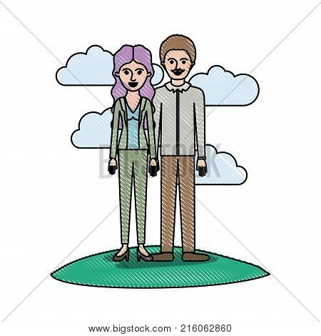 couple in colored crayon silhouette scene outdoor and her with blouse and jacket and pants and heel shoes with wavy long hair and him with shirt and pants and shoes with short hair and moustache vector illustration