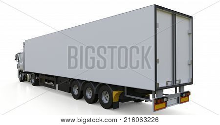 Large white truck with a semitrailer. Template for placing graphics. 3d rendering
