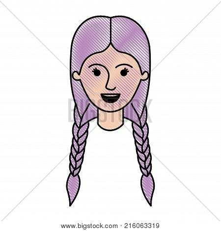 female face with braided hair in colored crayon silhouette vector illustration