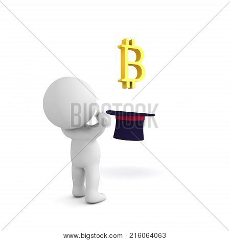 3D Character In Awe Of Bitcoin Logo Emerging From Top Hat