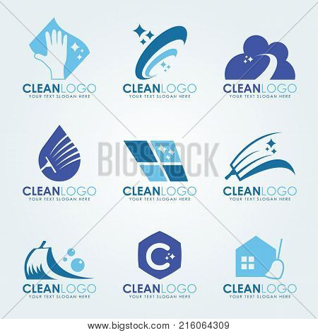Blue Clean logo with Cleaning gloves water droplets scrub brush and broom vector set design
