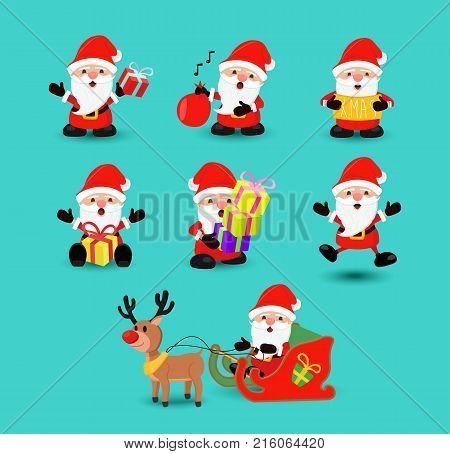 Christmas Santa Claus Funny Holiday Cartoon Set