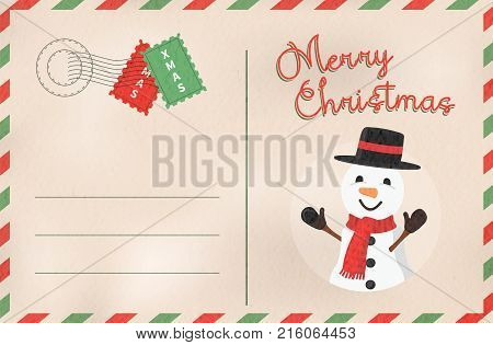 Merry Christmas Retro Snowman Holiday Postcard