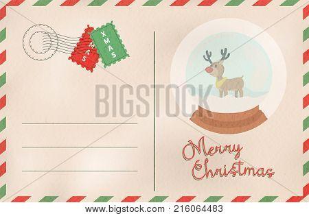 Merry Christmas Retro Snow Globe Holiday Postcard