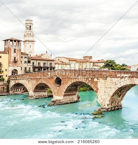 VERONA ITALY - June 25 2017: Verona. Bridge Ponte Pietra in Verona on Adige river