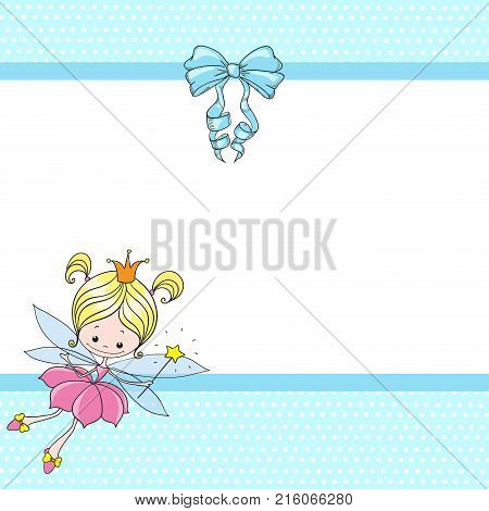 Lovely Character Cartoon Fairy. Fairy Girl With A Bow On A Blue Background. Greeting Card With Place