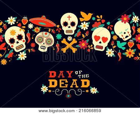Day Of The Dead Flower Sugar Skull Background