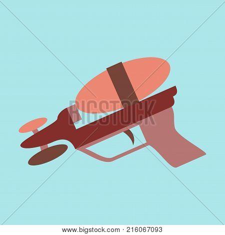 Icon in flat design Toy gun illustration, view