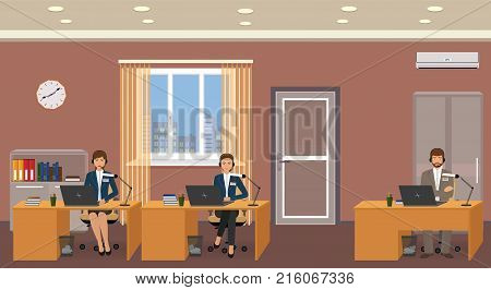 Employee of a customer support service on a work place. Office interior with helpline operators consulting clients online. Vector illustration.