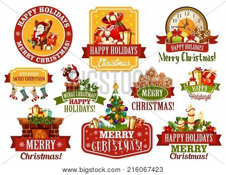 Merry Christmas greeting icons and happy winter holiday wishes on red ribbons. Vector Christmas tree holly wreath garland decoration, Santa gift presents and stockings for New Year celebration season