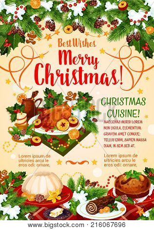 Christmas holidays cuisine greeting poster of New Year dinner. Xmas turkey, gingerbread cookie, pudding and chocolate cake banner, decorated with holly and pine tree, candle, star and ribbon
