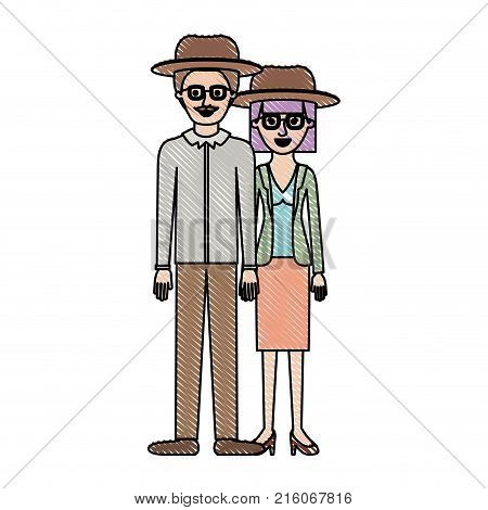 couple in colored crayon silhouette and both with hat and glasses and him with moustache and shirt and pants and shoes and her with blouse and jacket and skirt and heel shoes with mushroom hairstyle vector illustration
