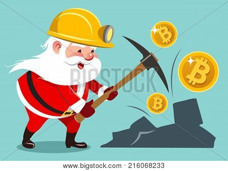 Vector cartoon illustration of Santa Claus wearing mining helmet working with pickaxe mining golden bitcoins. Finance cryptocurrency virtual money business Christmas holiday concept design element