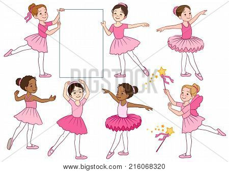 Vector cartoon illustration collection of cute multicultural little ballerina girls characters wearing pink leotards and tutu skirts. Ballet dance creative movement themed design elements