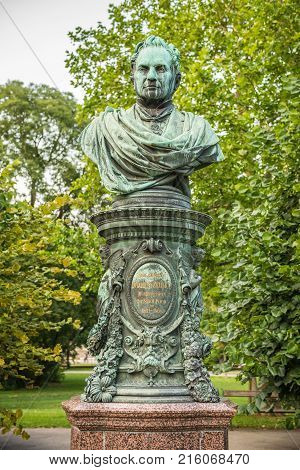 Bust of Andreas Zelinka in Vienna Stadtpark. Andreas Zelinka was the mayor of Vienna from 1861 to 1868.