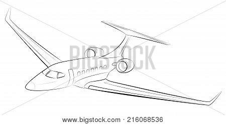 Prestigious and expensive modern business airplane. Private passenger jet aircraft. Black contour.