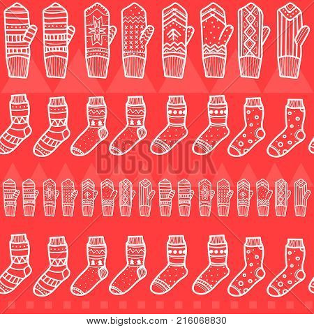 Winter mittens and socks seamless pattern. Hand drawn style. Christmas decorative elements. Red colors. Background for New Year greeting cards, posters.