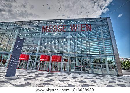 VIENNA, AUSTRIA - JULY 18, 2014: Vienna exhibition center, Austria. Messe Wien known as Trade Fair of Vienna is the biggest trade fair in Austria. Hdr image.