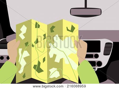 Inside car road map illustration, view fashion