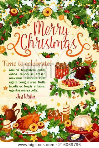 Christmas turkey festive poster of New Year holiday celebration. Xmas pudding, turkey, gingerbread and chocolate cake greeting card, framed with holly berry, pine tree and candle, snowflake and star