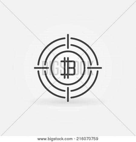 Cryptocurrency sign in target icon. Vector digital money in crosshair concept symbol in thin line style