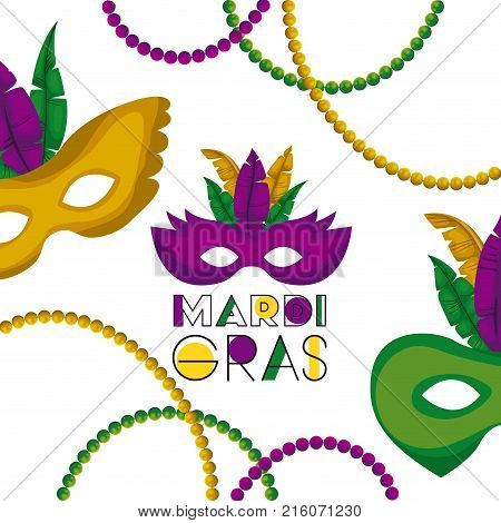 mardi gras poster with several carnival mask with colorful feathers and necklaces over white background vector illustration