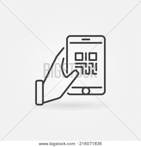 Hand holding smartphone with QR code vector icon in thin line style