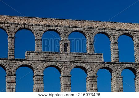 Wonderful aqueduct of Roman epoch placed at Segovia's city