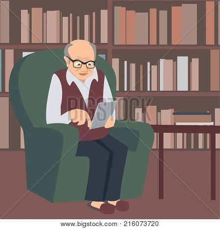elderly e-reader sitting at library with e-book or tablet - vector cartoon  illustration