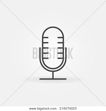 Mic vector outline icon. Retro microphone concept symbol or design element in thin line style