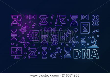 Vector DNA colorful horizontal banner. Deoxyribonucleic acid concept linear illustration on dark background