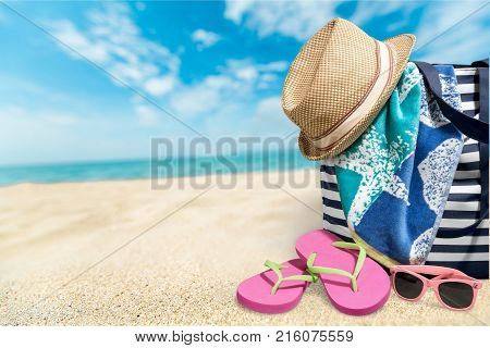 Color colorful bag summer beach close up flip flops
