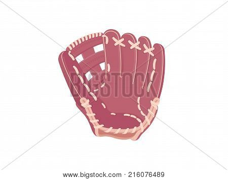 Baseball protection glove. Vector illustration. Brown baseball glove isolated on white background