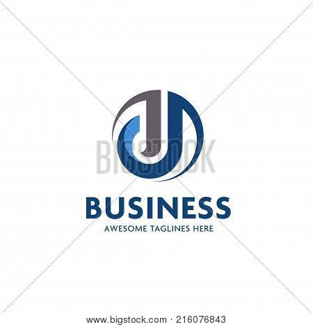 J letter logo with circle design vector illustration template, letter J logo vector, creative Letter J  letter logo