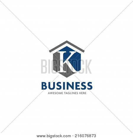 letter K logo with roofing design vector illustration template, letter k real estate logo vector, creative Letter K letter logo