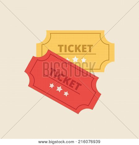 Ticket in flat style. Retro cinema ticket icon. Vector stock.
