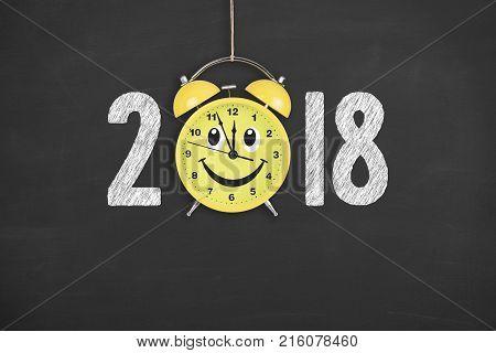 Happy new year 2018 concepts countdown clock on blackboard
