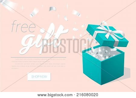 Promo banner with Open Gift Box and silver Confetti. Turquoise jewelry box. Template for cosmetics jewelry shops. Christmas Background. Vector Illustration.