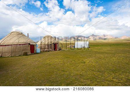 Yurts By Song Kul Lake, Kyrgyzstan