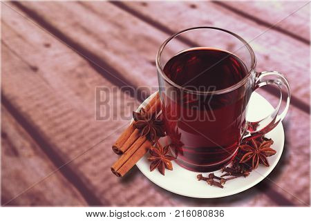 Red hot wine mulled mulled wine copy space studio shot