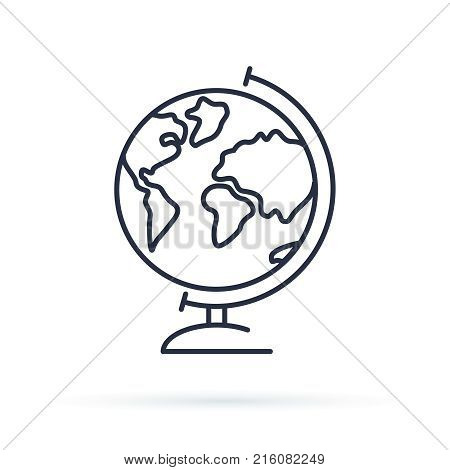 Globe icon. Earth vector illustration for study. World Icon isolated on background. Modern flat style pictogram internet concept. Trendy Simple vector symbol for web site design